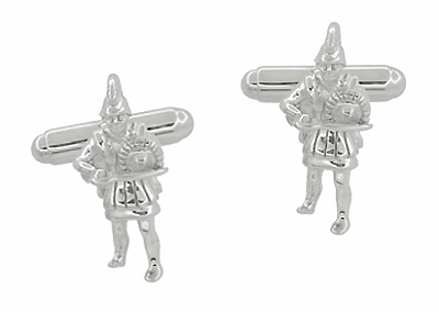 Greek Warrior Cufflinks in Sterling Silver - Item SCL205 - Image 1