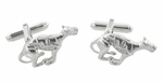 Greyhound Cufflinks in Sterling Silver - Racing Dog Cufflinks