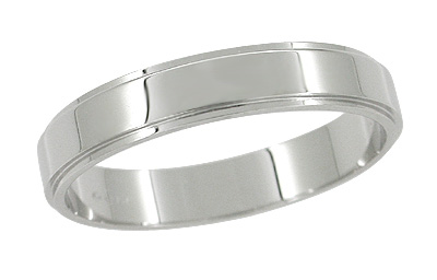 Grooved Edge Retro Wedding Band in 14 Karat White Gold - 4mm - Size 7.5