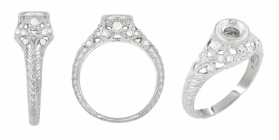 Art Deco Filigree Platinum Engagement Ring Setting for a 1/4 - 1/3 Carat Diamond - Item R648P - Image 1