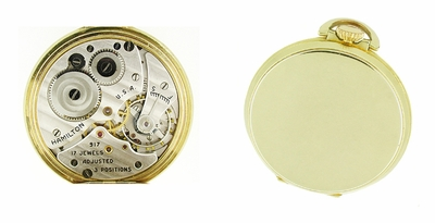 Hamilton Open Face Gold Filled Pocket Watch - 10 Size - Item PW102 - Image 1