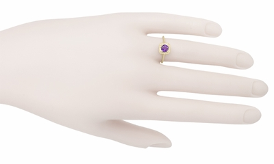 Art Deco Amethyst Filigree Scrolls Engraved Engagement Ring in 14 Karat Yellow Gold - Item R183YAM - Image 3