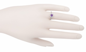 Art Deco Filigree Scrolls Engraved Amethyst Engagement Ring in 14 Karat White Gold - Item R183WAM - Image 3