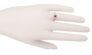 Filigree Scrolls Art Deco Engraved Rhodolite Garnet Engagement Ring in 14 Karat White Gold - Item R182W - Image 3