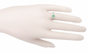 Emerald  Scrolls Engraved Filigree Engagement Ring in 14 Karat White Gold - Item R183 - Image 3