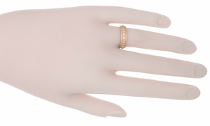 Art Deco Floral Wedding Ring in 14 Karat Rose Gold - Item R238R - Image 1