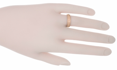 Art Deco Floral Wedding Ring in 14 Karat Rose Gold - Size 6.75 - Item R238R - Image 1