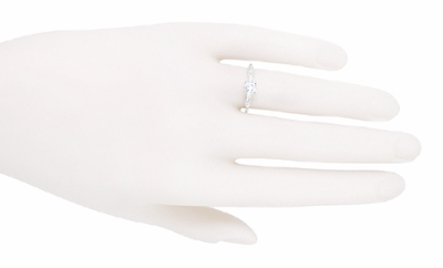 Art Deco Hearts and Clovers Diamond Solitaire Engagement Ring in 14K White Gold - Item R163W50D - Image 3