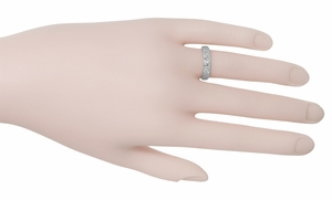 Art Deco Wedding Flowers Band in 18 Karat White Gold - Size 6 - Item R165 - Image 1