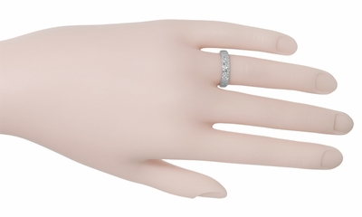 Art Deco Wedding Flowers Band in 18 Karat White Gold - Size 5.75 - Item R165 - Image 1