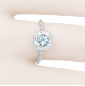 Filigree Scrolls Engraved Aquamarine Engagement Ring in 14 Karat White Gold - Item R183WA - Image 5