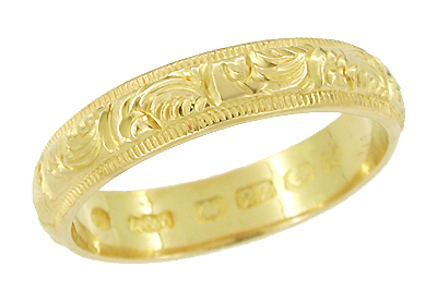 Hand Engraved Antique Victorian Wedding Band in 22 Karat Gold