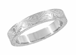 Hand Engraved Scrolls and Leaves Antique Design Wedding Band in 14 Karat White Gold