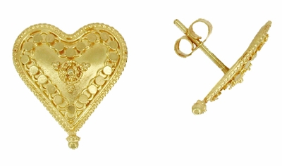 Hand Granulated Heart Earrings in 18 Karat Gold - Item E151 - Image 1
