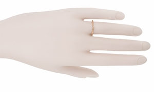 Art Deco Flowers and Wheat Engraved Filigree Wedding Band in 14 Karat Rose Gold - Item WR356R - Image 5