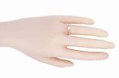 Art Deco 1/2 Carat Crown of Leaves Filigree Solitaire Diamond Engagement Ring in 18 Karat White Gold - Item R299W50D - Image 4