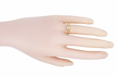 Art Deco 1/2 Carat Crown of Leaves Filigree Solitaire Diamond Engagement Ring in 18 Karat Yellow Gold - Item R299Y50D - Image 4
