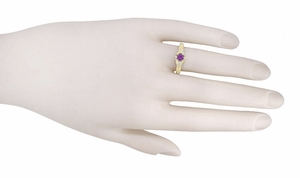 Art Deco Amethyst and Diamond Filigree Engagement Ring in 14 Karat Yellow Gold - Item RV761 - Image 2