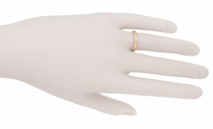 Art Deco Curved Engraved Wheat Wedding Band in 14 Karat Pink ( Rose ) Gold - Item R635R - Image 2