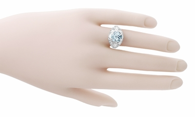 Art Deco Filigree Aquamarine and Diamonds Dome Ring in 14 Karat White Gold - Item R800WA - Image 5