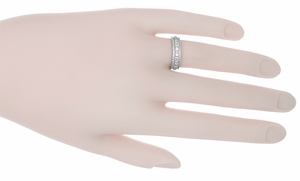 Art Deco Floral Platinum Wedding Band - Item R221 - Image 1