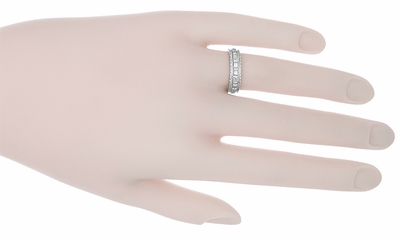 Art Deco Floral Platinum Wedding Band - Size 6.75 - Item R221 - Image 1