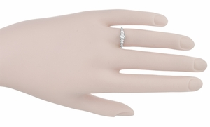 Art Deco Solitaire Vintage Diamond Engagement Ring in 14 Karat White Gold - Click to enlarge