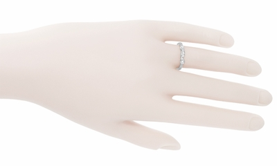 1950's Retro Moderne Diamond Filigree Wedding Ring in 14 Karat White Gold - Item WR380 - Image 2