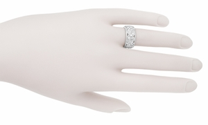 Retro Moderne Filigree Diamond Wide Wedding Ring in 14 Karat White Gold - Item R472D - Image 1