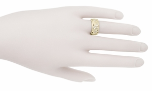 Retro Moderne Filigree Fan Scrolls Wide Diamond Wedding Ring - 14K Yellow Gold 1950s Vintage Eternity Band Reproduction - Item R472YD - Image 1