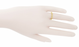 Retro Moderne Diamond Set Filigree Wedding Ring in 14 Karat Yellow Gold - Item WR380Y - Image 2
