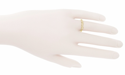 Retro Moderne 14 Karat Yellow Gold Filigree Diamond Wedding Ring - Item WR380Y - Image 2