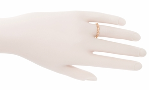 Retro Moderne White Sapphire Filigree Wedding Ring in 14 Karat Rose Gold - Item WR380RWS - Image 2