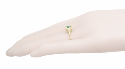 Engraved Scrolls Filigree Emerald Engagement Ring in 14 Karat Yellow Gold - Item R183Y - Image 4