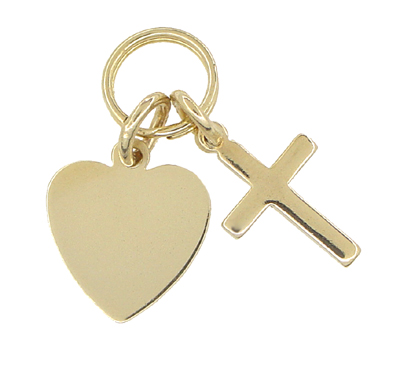 Heart and Cross Charm in 14 Karat Gold