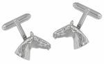 Horse Head Cufflinks in Sterling Silver