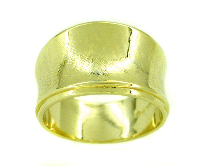 1970s Hugger Wide Band Ring with Crisscross Finish in 14 Karat Gold
