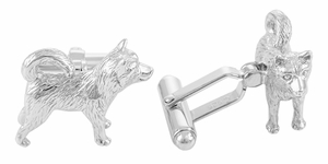 Husky Cufflinks in Sterling Silver  - Item SCL155 - Image 1
