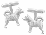 Husky Cufflinks in Sterling Silver