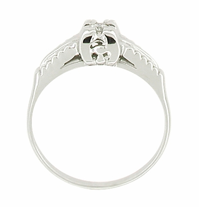 Illusion Square Mid Century Diamond Antique Engagement Ring in 14 Karat White Gold - Item R393 - Image 1