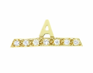 "Initial ""A"" Diamond Tie Tack in 14 Karat Gold"