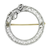 Krementz Antique Edwardian Circle Filigree Bow Brooch Pin in 14 Karat Gold and Platinum