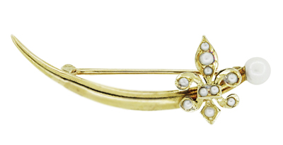 Krementz Antique Victorian Fleur De Lis Seed Pearl Crescent Brooch in 14 Karat Yellow Gold
