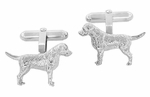 Labrador Cufflinks in Sterling Silver - Silver Labrador Retriever Cuff Links