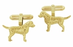 Labrador Cufflinks in Sterling Silver with Yellow Gold Finish - Gold Labrador Cufflinks