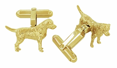 Labrador Cufflinks in Sterling Silver with Yellow Gold Finish - Gold Labrador Cufflinks - Item SCL230Y - Image 1
