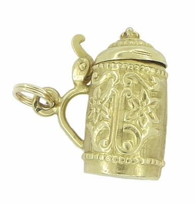 Large Vintage Moveable Beer Stein Pendant Charm in 18 Karat Yellow Gold - Item C479 - Image 1