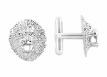 Lion Cufflinks in Sterling Silver - Lion Head Cuff Links