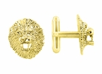 Lion Cufflinks in Sterling Silver with Yellow Gold Finish - Gold Lion Cufflinks