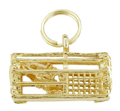 Lobster Trap Charm with Movable Lobster in 14 Karat Gold